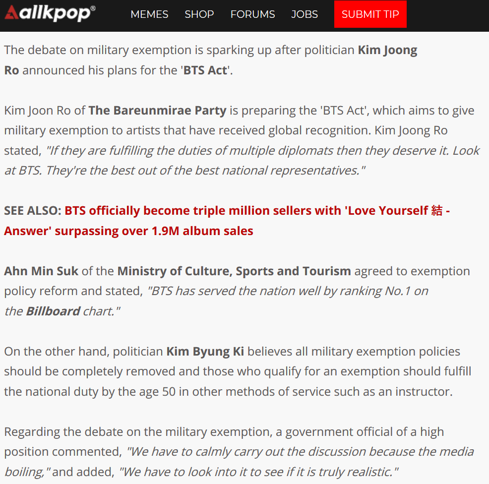 BTS get dragged into military exemption debate by